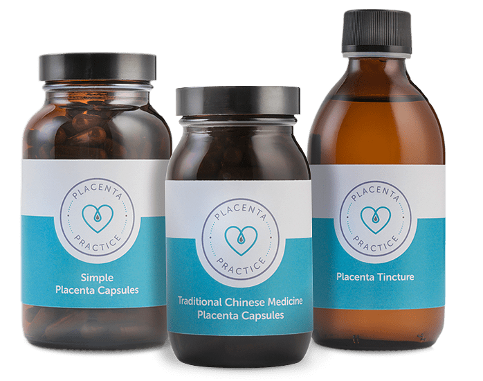 Bottle of Simple Placenta Capsules, Traditional Chinese Medicine Capsules and Placenta Tincture